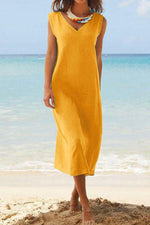 Solid V Neck Sleeveless Maxi Dress