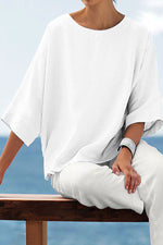Paneled Solid Casual Half Sleeves T-shirt