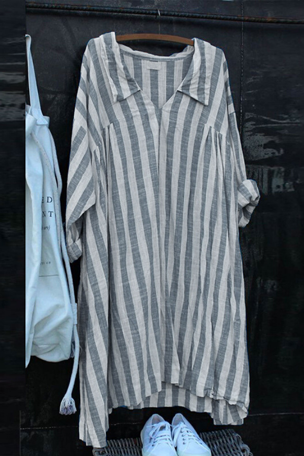 Casual Stripe Print V-neck Shift Dress