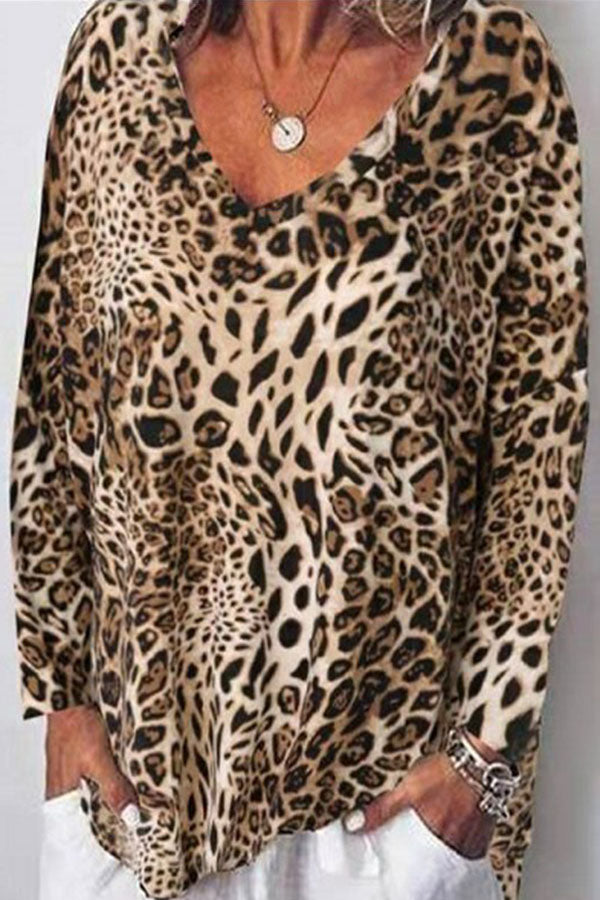 Leopard Casual V Neck Loose T Shirt