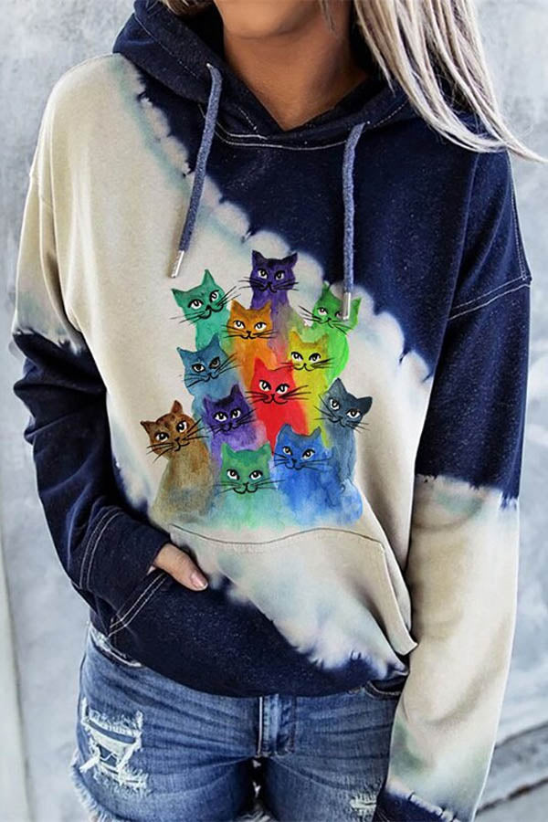 Sports Fashion Colorful Gradient Cat Print Color-block Drawstring Hoodie