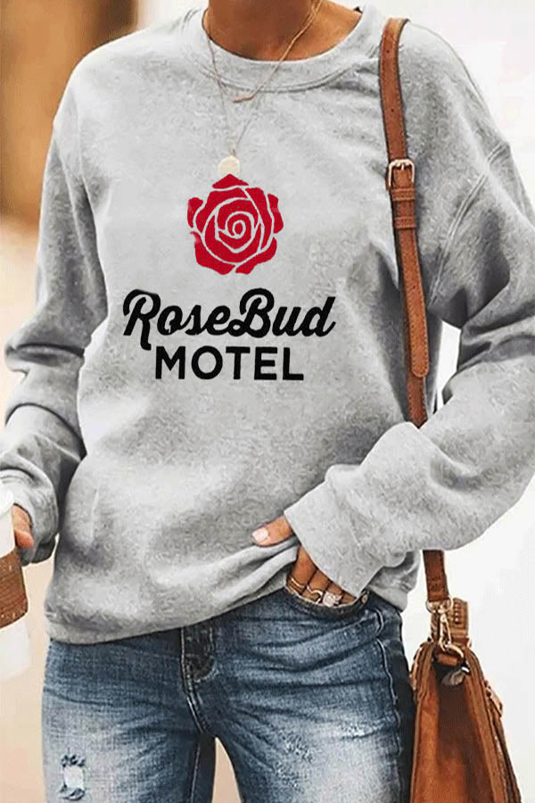Rose Bud Motel Letter Floral Print Casual Crew Neck T-shirt