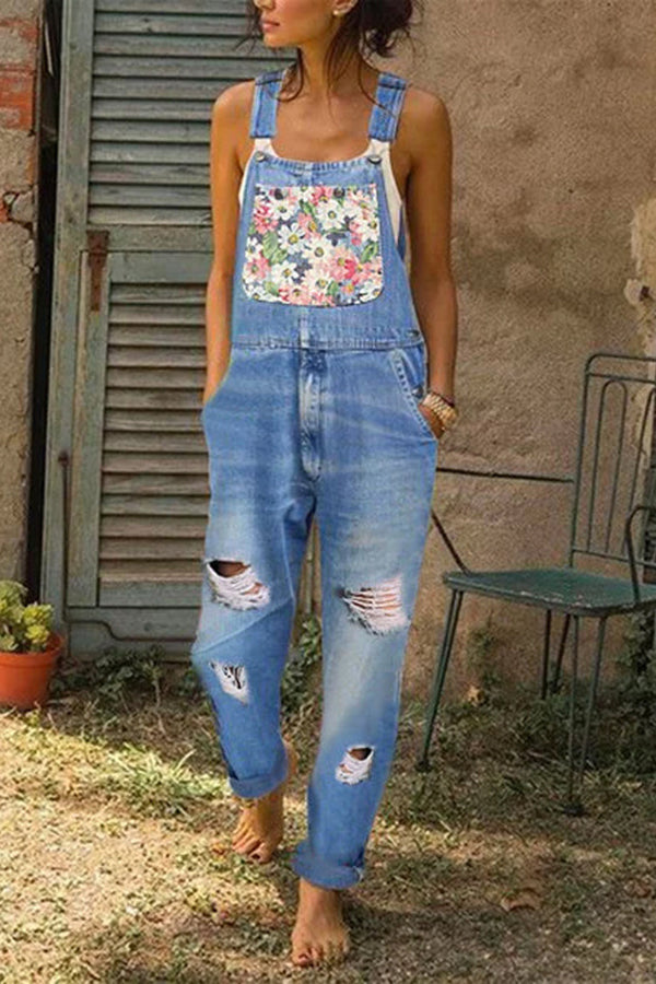 Denim Slim Fit Floral Printed Jumpsuit Rompers
