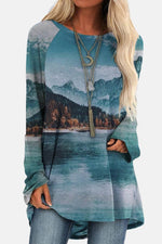 Gradient Reflection Nature Landscape Lake Mountain Print Artistic T-shirt