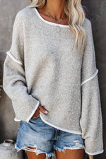 Sweety Solid Paneled Knitted Crew Neck Sweater