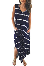 Striped Sleeveless V-neck Casual Slit Maxi Dress