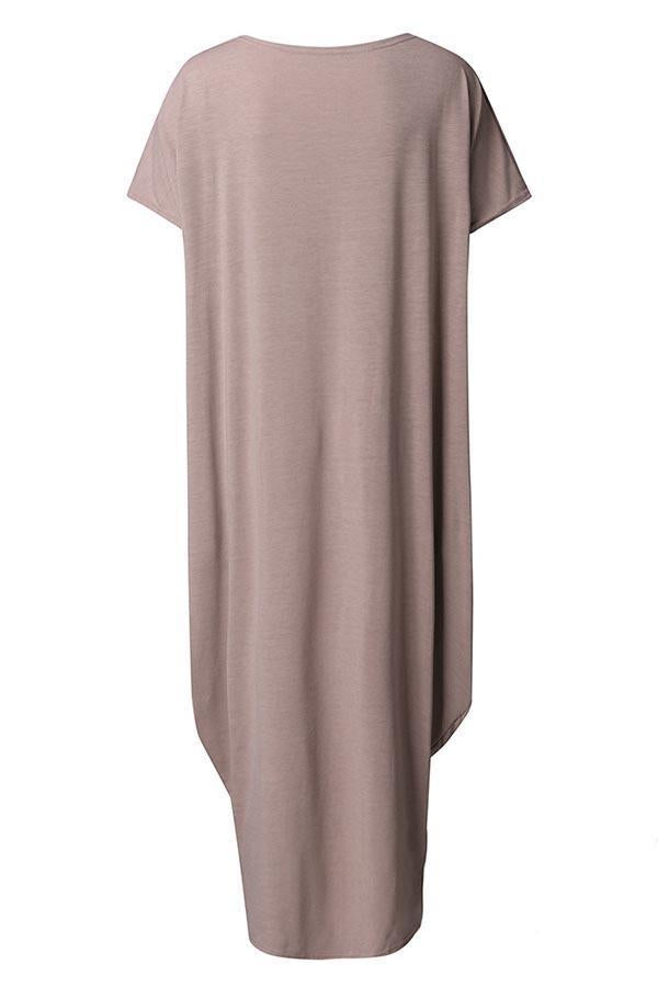 Solid Crew Neck Short Sleeves Loose Maxi Dress