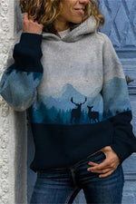Nature Landscape Gradient Forest Mountain Elk On The Ground Jacquard Vintage Hoodie