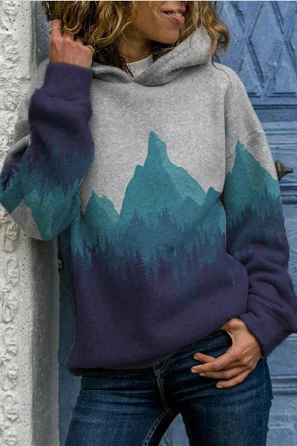 Gradient Mountain Forest Landscape Jacquard Retro Hoodie