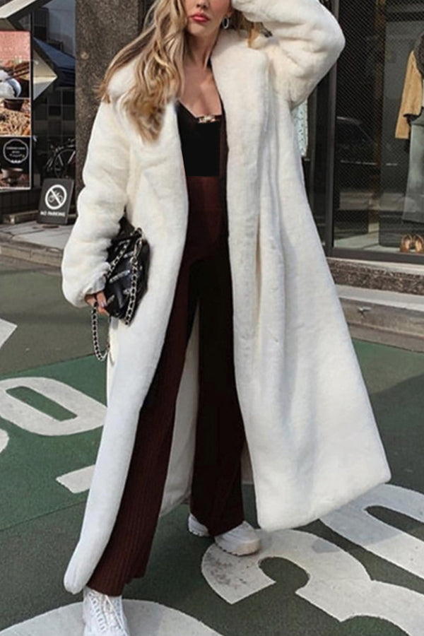 Temperament Solid Fuzzy Lapel Collar Fashion Coat