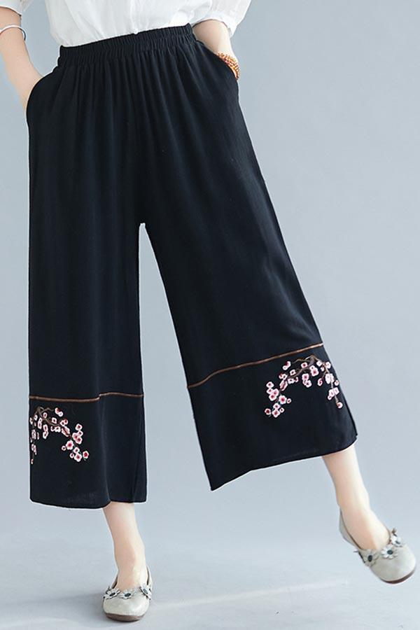 Floral Embroidery Vintage Slit Wide Leg Pants