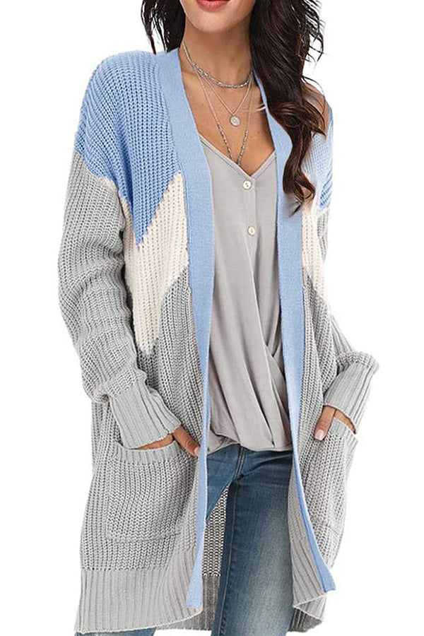 Knitted Ribbed Color-block Striped Jacquard Paneled Pockets Casual Cardigan