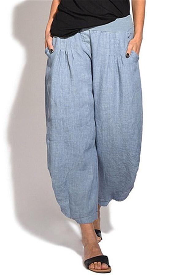 Side Pockets Solid Casual  Pants