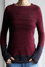 Color block Casual Round Sweater
