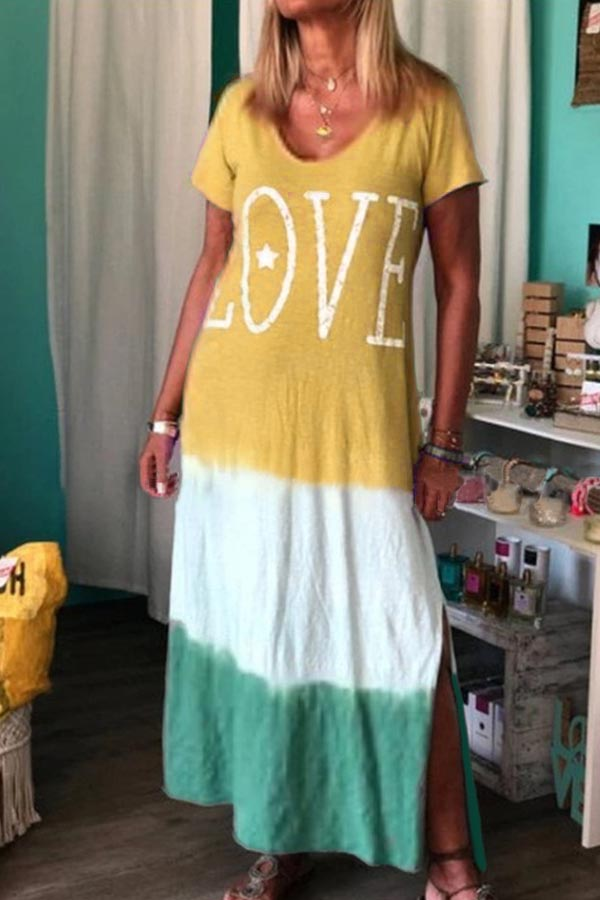 Color block Casual Round Neck Letter Maxi Dresses