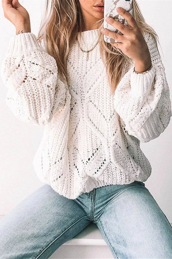 Daily Solid Knitted Ribbed Tweed Hollow Out Sweater