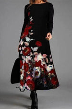 Elegant Gradient Floral Jacquard Lady Crew Neck Maxi Dress