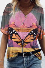 Sunset Landscape Butterfly Painting Print V-Neck Short Sleeve Daily T-shirt