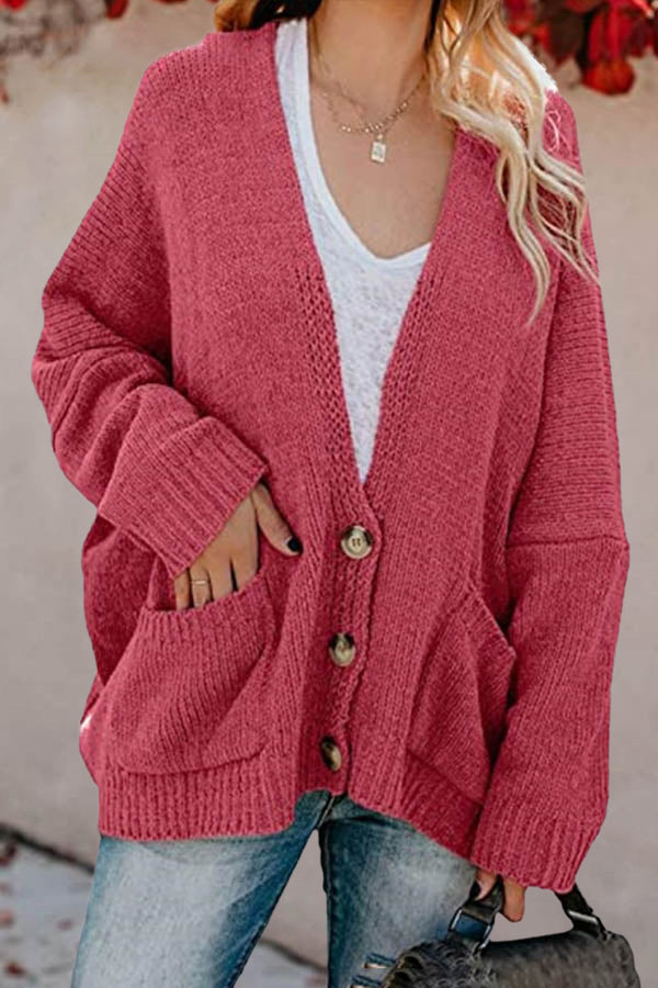 Knitted Ribbed Solid Buttoned Paneled Pockets Simple Style Cardigan