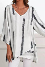 Striped Print Cross Front Hem V-neck 3/4 Sleeves Casual Blouse