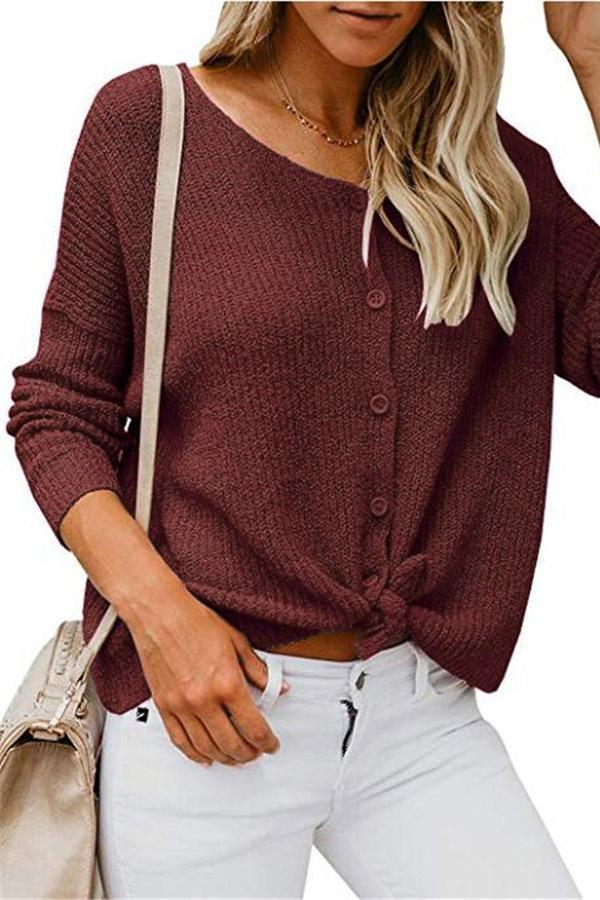 V Neck Button Knitted Cardigan
