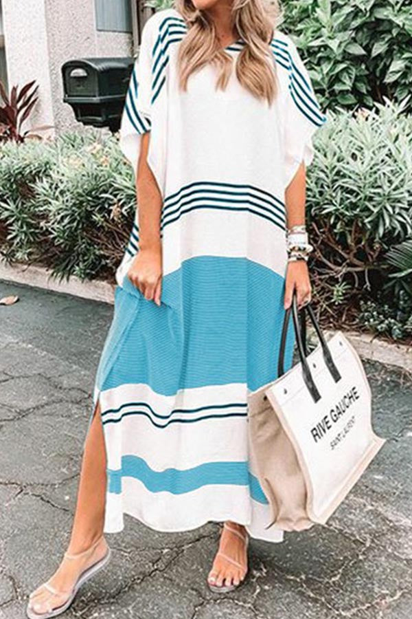 Casual Stripe Round Loose Maxi Dress