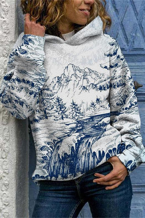 Sketch Landscape Painting Mountain River Forest Jacquard Artistic Hoodie