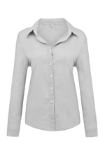 Casual Solid Button Shirt Collar Blouse