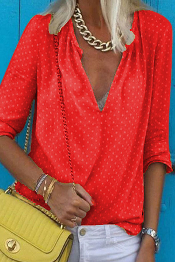 Dots Print V-neck Long Sleeves Casual Shirt