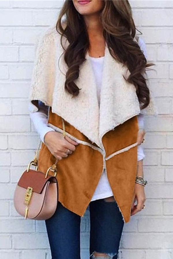 Street Fashion Solid Color-block Lapel Collar Suede Vest Coat
