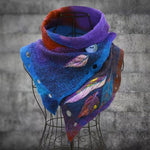 Colorful Ethnic Retro Gradient Leaf Jacquard Buttoned Cutout Irregular Bib Scarf