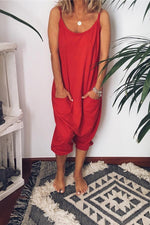Women Basics Round Neck Loose Jumpsuit