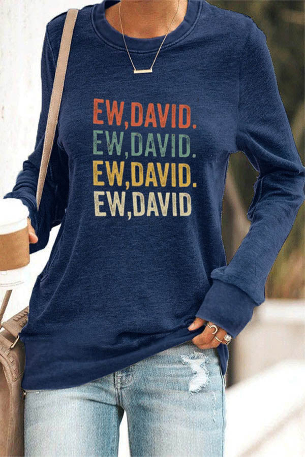 EW DAVID Letter Rainbow Color Print Sheath Daytime T-shirt