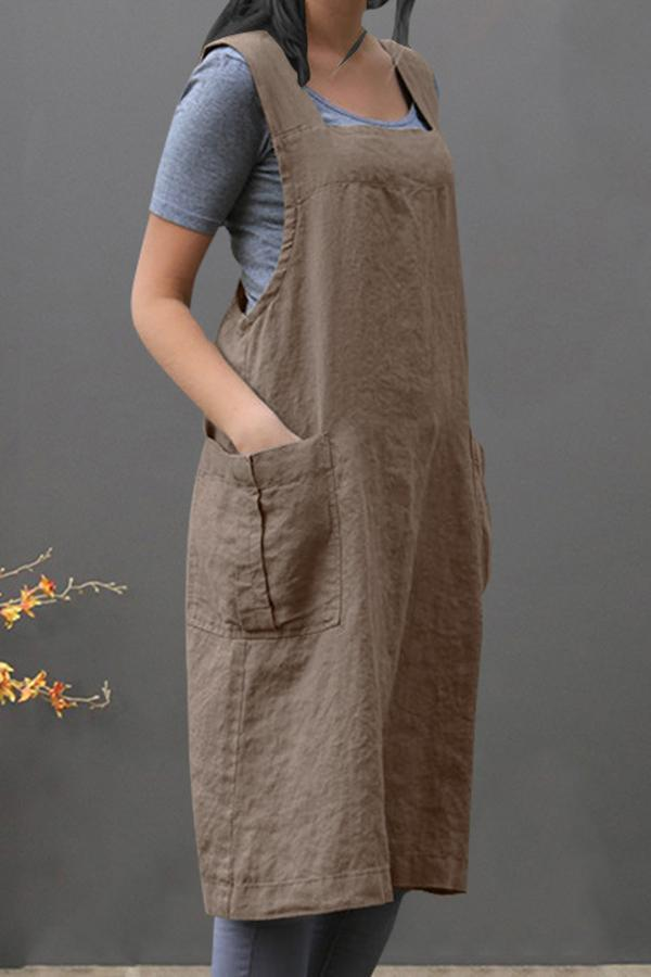 Home Gardening Solid Apron Midi Dress