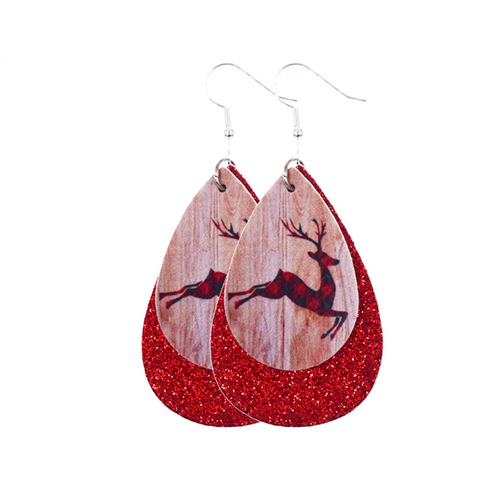 Vintage Christmas Hat Elk Santa Claus Tree Snowman Pie Man Drop-shaped Earrings