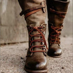 Lace-up Middle Tube Rider Boots