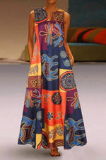 Vintage Print V Neck Pockets Sleeveless Maxi Dress