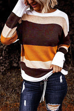 Color-block Striped Jacquard Holiday Casual Knitted Ribbed Sweater