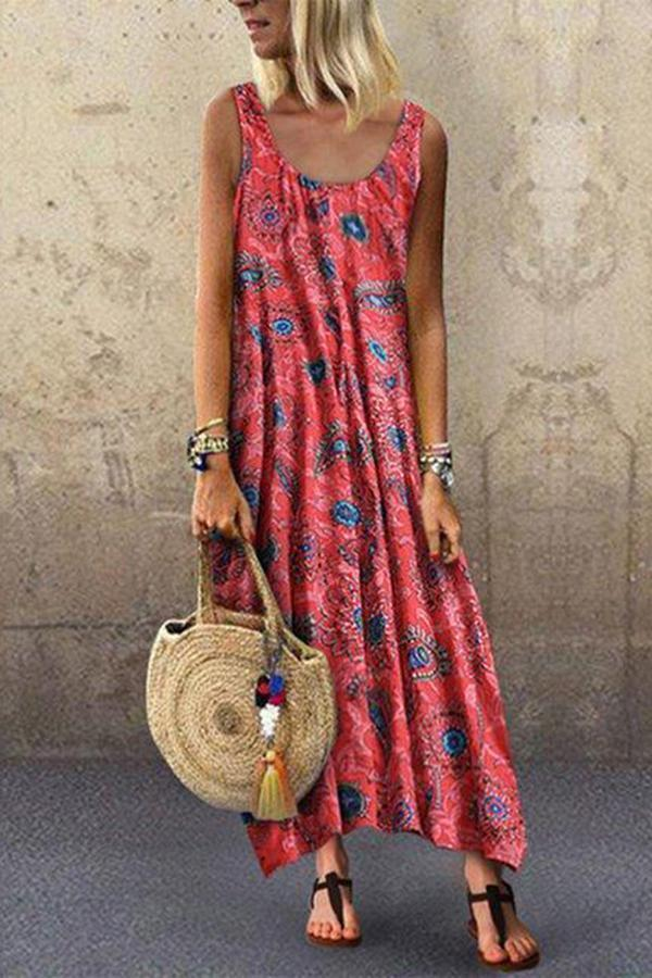 Sleeveless Holiday Floral Print Maxi Dress