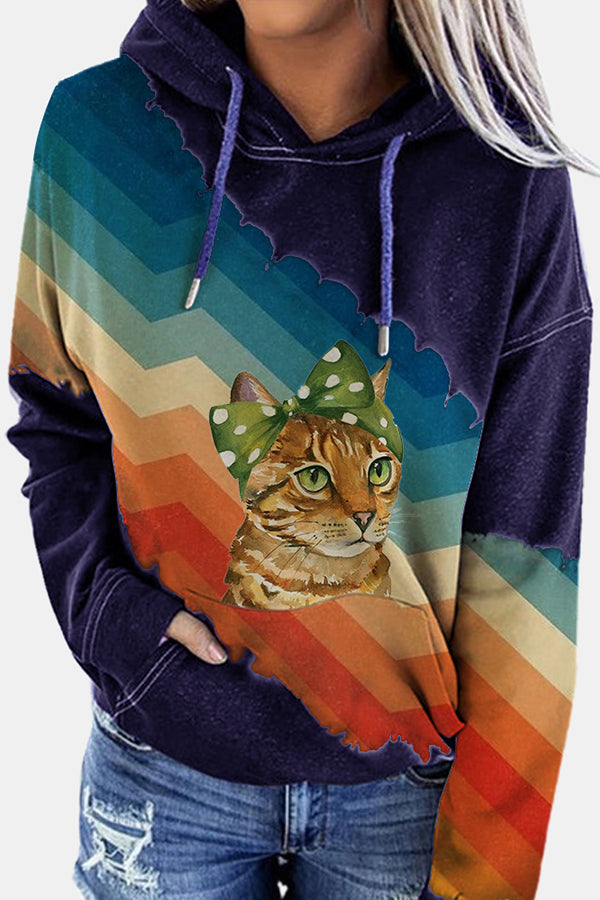 Street Lifelike Cat Print Rainbow Striped Gradient Color-block Hoodie