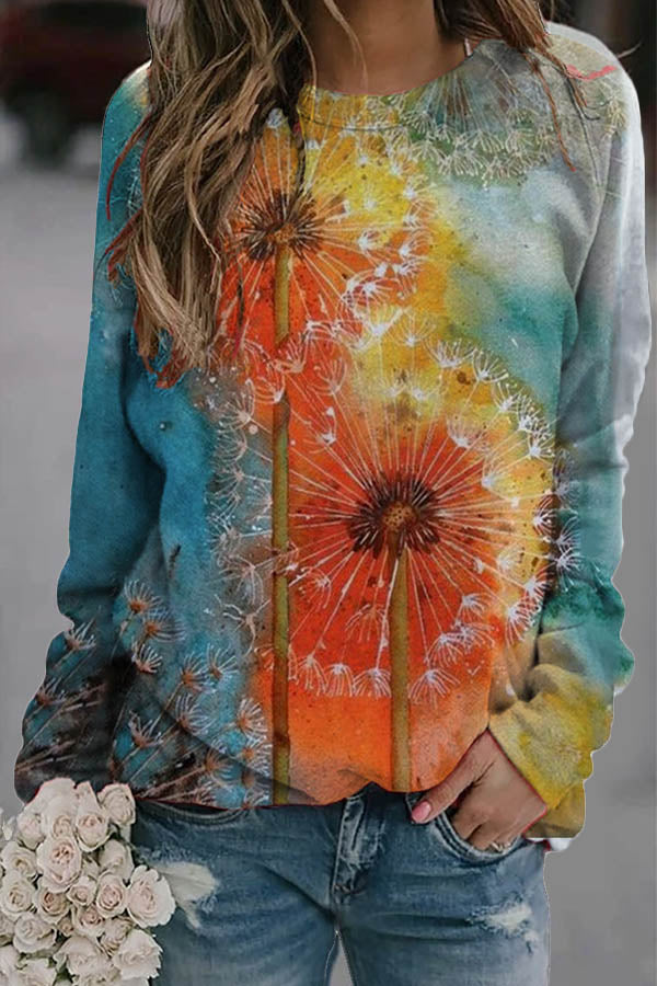 Colorful Gradient Dandelion Jacquard Vintage T-shirt