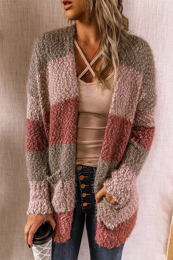 Color-block Striped Jacquard Open Front Fuzzy Paneled Pockets Cardigan