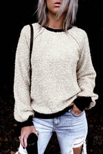 Color-block Trim Fuzzy Solid Paneled Raglan Sleeves Casual Sweatshirt