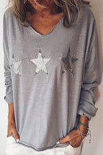 Star Appliqued Hot Drilling Decoration Casual V-neck T-shirt