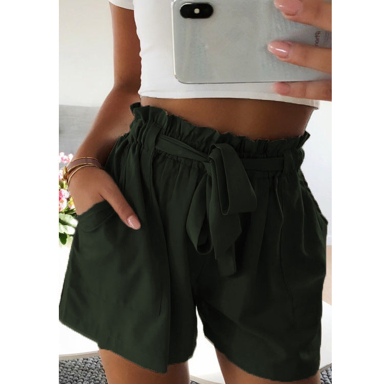 Casual Solid Side Pockets Short Pants