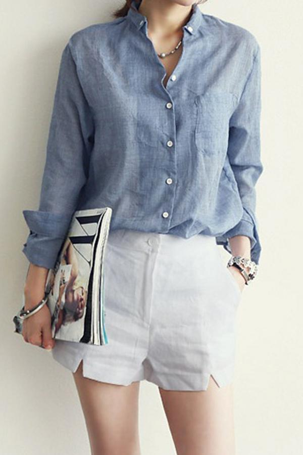 Button Fly Solid Shirt Collar Casual Blouses