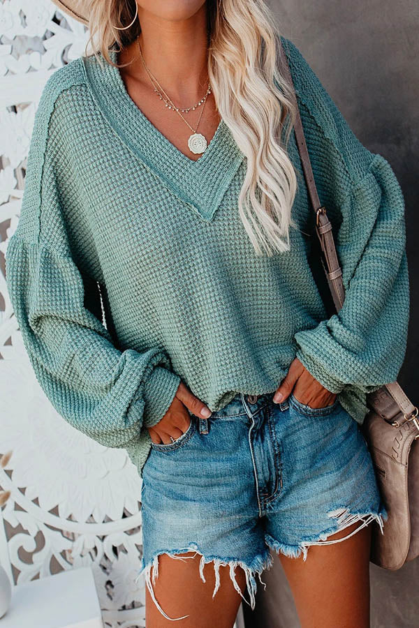 Street Plaid Embossed Paneled V-neck Balloon Sleeves Blouse