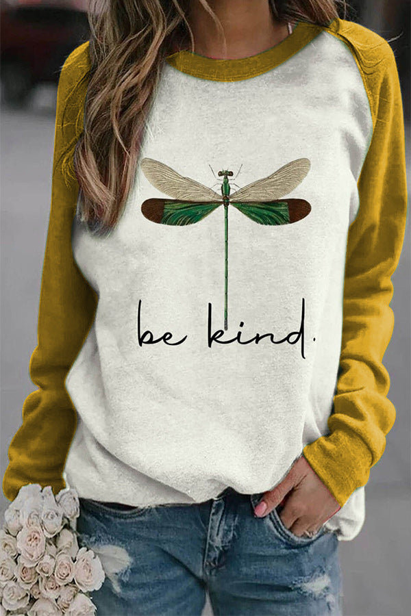 Be Kind Letter Lifelike Dragonfly Print Raglan Sleeves Color-block T-shirt