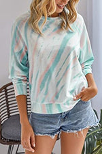 Casual Gradient Print Paneled Long Sleeves T-shirt
