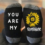 You Are My Sunshine Letter Sunflower Jacquard Color-block Casual Socks